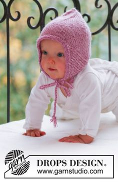 Sweet pixie / DROPS baby - free knitting patterns by DROPS design - Sweet Pixie / DROPS Baby – Knitted hat for babies and children in 2 threads DROPS Alpaca - Baby Knitting Patterns, Baby Hats Knitting, Free Knitting, Crochet Patterns, Baby Bonnet Pattern Free, Crochet Baby Bonnet, Free Pattern, Drops Design, Drops Baby