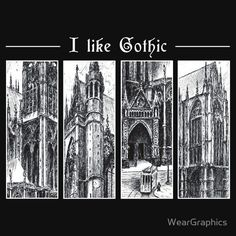 """Ink graphic """"I like gothic"""" - for dark background"""