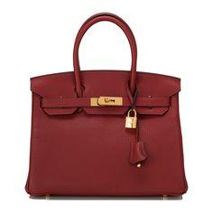 #Hermes Birkin #Bag Rouge H Clemence Gold Hardware