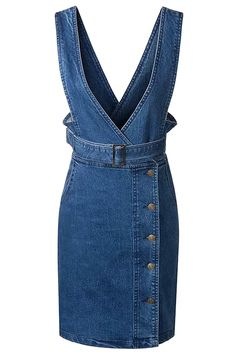 Casual Denim Overall Dress With Belt - OASAP.com