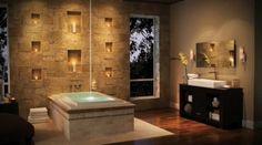 Bathroom Decoration with Stone Veneer