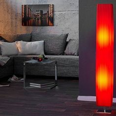 Edle Design Stehlampe PARIS rot Plissee Schirm, Farbe: Rot, Material: Kunststoff // check out more ---> riess-ambiente. Deco, Furniture, Home, Interior, Contemporary Design, Couch, Sectional Couch, Home Deco, Home Decor