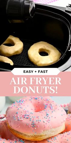 Donuts in just 6 minutes! These Strawberry Glazed Air Fryer Donuts are the quickest and easiest donut recipe you will ever find! #Donuts #AirFryerDonuts #AirFryerRecipes #DonutRecipes #AirFryerBreakfast #AirFryerDessert #BreakfastRecipes