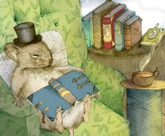 The steaming tea, the book on the lap, the nest of nature, it looks like naptime!