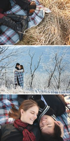 Love this winter wedding engagement session outdoors with a plaid blanket. View more from this winter Cades Cove wedding engagement inspiration by Danielle Evans Photography | The Pink Bride www.thepinkbride.com