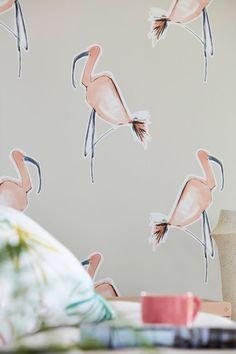 Ink-sketched flamingo outlines feature on this lovely Scion Zanzibar wallpaper design Flamingo Wallpaper, Peach Wallpaper, Wall Wallpaper, Flamingo Decor, Scion, Warm Grey, Gray Background, Designer Wallpaper, True Colors