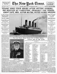 New York Times Titanic Sinks April The Real Inside