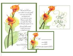 Thor and Kris's cala lily invitations, rsvp and thank-you cards.  They had them printed on ivory linen paper, and the envelopes addressed in italic calligraphy.  A fun job.
