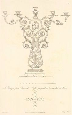 A Design for a branch light, proposed to be executed in silver. From New York Public Library Digital Collections.