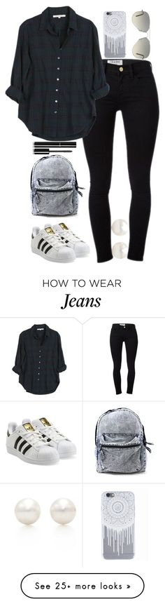 """Flannel and Jeans"" by namitabpatel on Polyvore featuring Tiffany & Co., Frame Denim, Xirena, adidas Originals, Ray-Ban and Chanel"