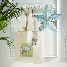 Alpaca Organic Spring Tote – Mariana Black Designs Diamond Pattern, Cotton Canvas, Whimsical, Organic, Turquoise, Tote Bag, Drawings, Spring, Illustration