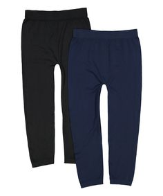 Take a look at this Black & Navy Two-Pair Seamless Capri Leggings Set today!