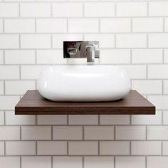 Nova 600 x Dark Wood Wall Hung Slimline Countertop Basin Shelf Toilet And Bathroom Design, Bathroom Sink Units, Bathroom Basin, Bathroom Ideas, Countertop Basin, Basin Sink, Bathroom Countertops, Walnut Floating Shelves, Walnut Shelves