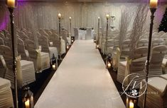 Winter civil ceremony at Mount Wolseley - - aisle runner, aisle candle stands and lanterns, willow ends, chair covers, fairylight backdrop and uplighters Wedding Venue Decorations, Wedding Venues, Pew Ends, Civil Ceremony, Church Wedding, Chair Covers, Civilization, Winter, Floral Arrangements