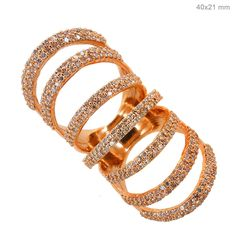 Solid 14k Rose Gold 1.75Ct Pave Natural Diamond Vintage Style Armor Ring Jewelry…