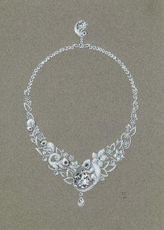 Tony FURION : Collier Caméléonsor blanc-diamant-oxyx gouaché joaillerie