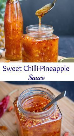Sweet and spicy Chili Sauce with pineapple - with chili flakes, sugar, vinegar and more.