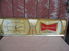 Ultimate budweiser gameroom combo 2 bar stools and table vintage 1970s large lighted budweiser bar sign clock rare bar back watchthetrailerfo