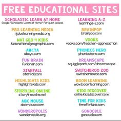 Free learning sites for kids Educational Websites For Kids, Learning Sites, Home Learning, Preschool Learning, Teaching Kids, Learning Resources, Fun Websites For Kids, School Websites, Educational Games