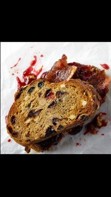Sandwiches: PB and BSandwiches: PB and B Sweet-plus-salty-plus-bacon. Enough said. Spread a slice of toasted raisin bread with nut butter and raspberry jam. Top with bacon and sandwich with another slice of toasted raisin bread.