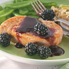 Blackberry  sauced pork chops