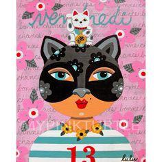 50% de descuento con código 50THANKS - el viernes la chica gato 13 con Maneki Neko 8 x 10 impresión de pintura de LuLu Mypinkturtle