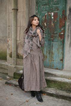 Льняное платье в стиле бохо.