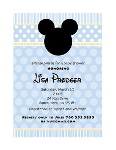 blue mickey mouse baby shower invitation by on etsy