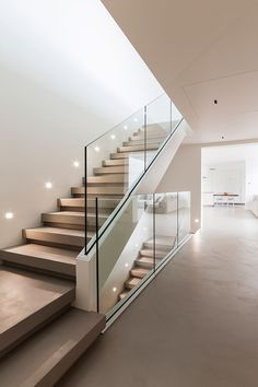 Modern Staircase Design Ideas - Modern stairs can be found in lots of styles and designs that can be real eye-catcher in the various location. We've assembled best 10 modern models of stairways that can give. Home Stairs Design, Interior Stairs, Dream Home Design, Modern House Design, Home Interior Design, Room Interior, Staircase Design Modern, Staircase Glass Design, Staircase Contemporary