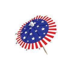 Patriotic Jumbo Umbrella Picks (24 Count) - Party Supplies