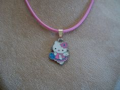 Hello Kitty Necklace on Silkies Cord  by Brendas by BrendasBeading, $8.95