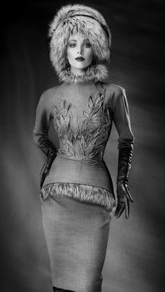 Russian-style fur hat and a jacket with fur trim. Designer: Yulia Yanina, #Russia.
