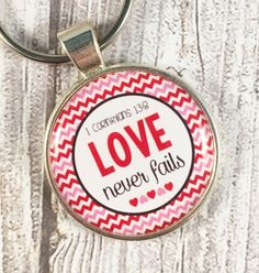 Faith key chain - Love never fails - 1 Corinthians 138 - Faith love hope - Bible study gifts - Bible verse gifts - Prayer changes everything by Shaebugs on Etsy