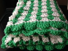 Cream and Green Hand Crocheted Blanket Baby by KreationsByKirstenL, £42.50