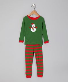 Loving this Red & Green Snowman Pajama Set - Infant, Toddler & Kids on #zulily! #zulilyfinds
