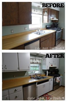 How to Paint Laminate Cabinets - Before & After almost exactly like my kitchen makeover!
