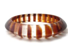 Lucite Bangle Bracelet Retro Jewelry Clear with Brown