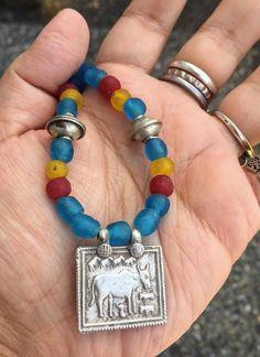 Vintage Ethnic Tribal Indian Silver Hindu God Cow Deity Kamdhenu Necklace, African Recycled Glass Beads Necklace, Berber Silver Necklace