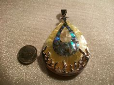 Large Inlaid Abalone Shell with Silver Plated by TheEiffelTeaRoom