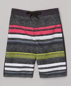 Gray & Fuchsia Stripe Boardshorts - Boys