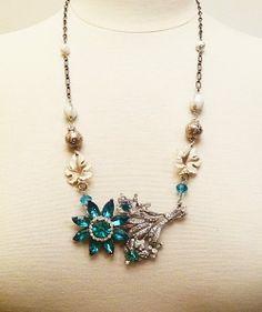 Aqua Flower Rhinestone Necklace Vintage Art Deco Gem Crystals Bride Jewelry #VintElegance