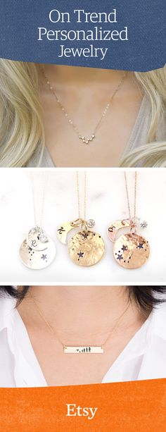 Today's top trending personalized necklaces. Discover more unique jewelry on Etsy. Travel Jewelry, Diy Jewelry, Jewelery, Handmade Jewelry, Jewelry Making, Unique Jewelry, Handmade Crafts, Jewelry Necklaces, Diy Crafts