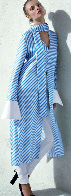 Monse Striped Tie-Neck Long Shirt