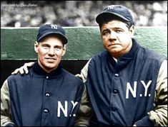 Babe Ruth with Leo Durocher New York Yankees Leo Durocher, Babe Ruth, New York Yankees, Baseball Cards, Sports, Life, Vintage, Hs Sports, Vintage Comics