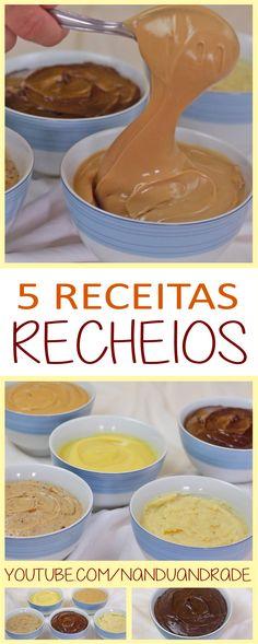 Aprenda a fazer 5 recheios de bolos, tortas, bolo de pote e ovo de páscoa de colher: Recheio de chocolate, recheio de paçoca, trufa de maracujá, recheio de paçoca, recheio de amendoim e recheio de coco.