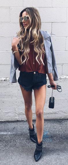 Grey Suede Jacket & Black Denim Short & Brown Top & Black Leather Boots