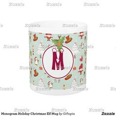 Monogram Holiday Christmas Elf Mug