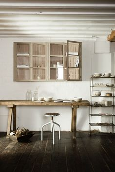 glazed wall cupboards made from English Beech from deVOL's Sebastian Cox Kitchen range