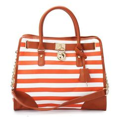 Perfect Michael Kors Striped Lock Large Orange Totes, Perfect You
