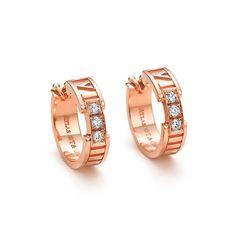 Atlas® hoop earrings in 18k rose gold with diamonds.   Tiffany & Co.